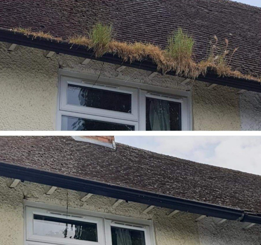 Home gutter before and aftter Draincall gutter cleaning service